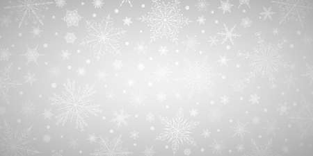 Christmas background of various complex big and small snowflakes, in gray colors Vektorové ilustrace