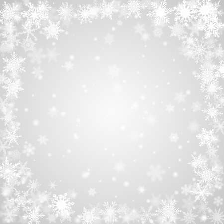 Christmas background of snowflakes arranged in a circle, in gray colors