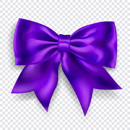 Beautiful big bow made of purple ribbon with shadow on transparent background. Transparency only in vector format