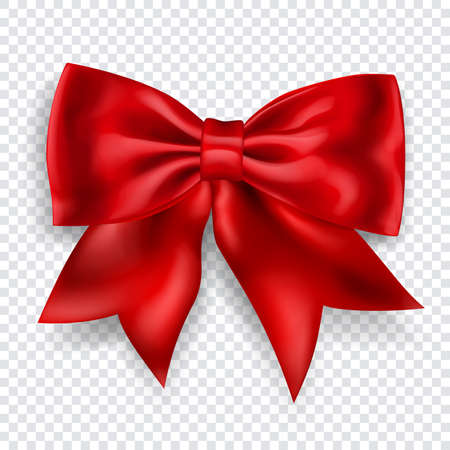 Beautiful big bow made of red ribbon with shadow on transparent background. Transparency only in vector format