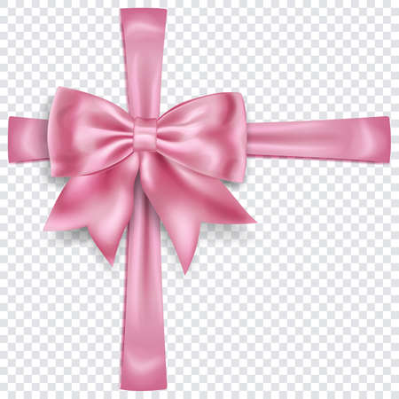 Beautiful pink bow with crosswise ribbons with shadow on transparent background. Transparency only in vector format