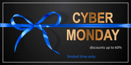 Cyber Monday sale banner with blue bow and ribbons on black background.