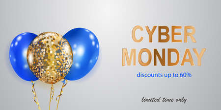 Cyber Monday sale banner with blue and golden balloons on white background. Ilustração