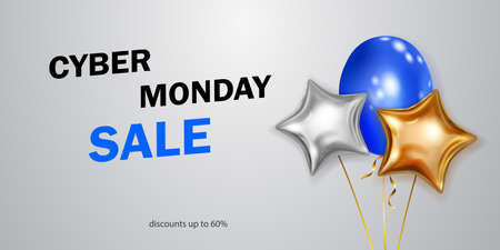 Cyber Monday sale banner with blue, golden and silver balloons on white background.