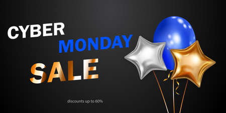Cyber Monday sale banner with blue, golden and silver balloons on black background.