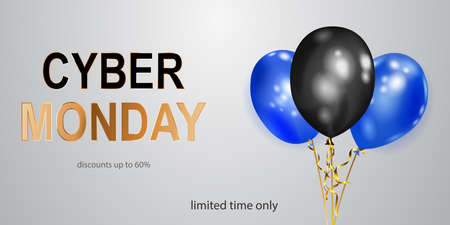 Cyber Monday sale banner with blue and black balloons on white background.