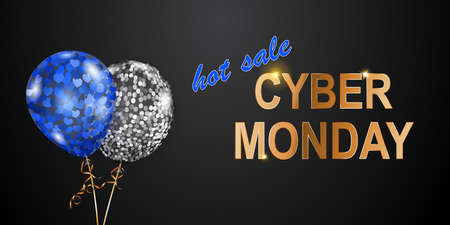 Cyber Monday sale banner with blue and silver balloons on black background.