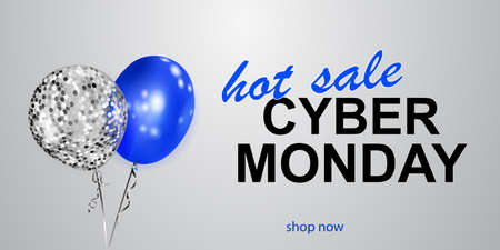 Cyber Monday sale banner with blue and silver balloons on white background. Ilustração