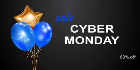 Cyber Monday sale banner with blue and golden balloons on black background.