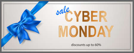 Cyber Monday sale banner with blue bow and ribbons on white background. Ilustração