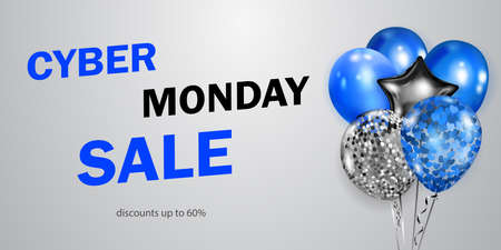 Cyber Monday sale banner with blue, black and silver balloons on white background. Ilustração