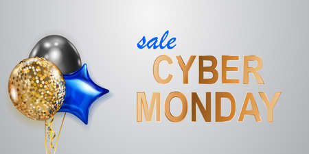Cyber Monday sale banner with blue, golden and black balloons on white background. Ilustração