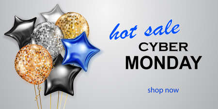 Cyber Monday sale banner with blue, golden silver and black balloons on white background.