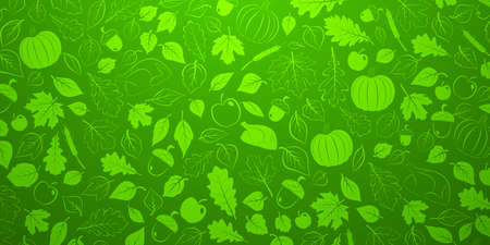 Happy Thanksgiving background with autumn leaves, vegetables and turkey in green colors Ilustração