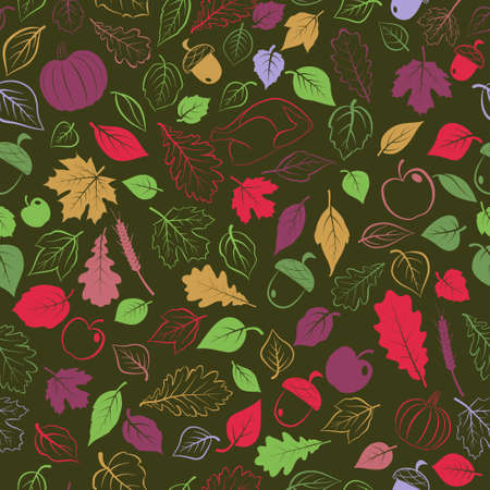 Happy Thanksgiving seamless pattern with autumn leaves, vegetables and turkey, multicolored on dark background