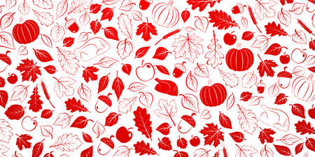Happy Thanksgiving background with autumn leaves, vegetables and turkey, red on white