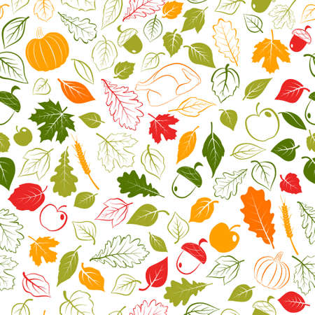Happy Thanksgiving seamless pattern with autumn leaves, vegetables and turkey, multicolored on white background