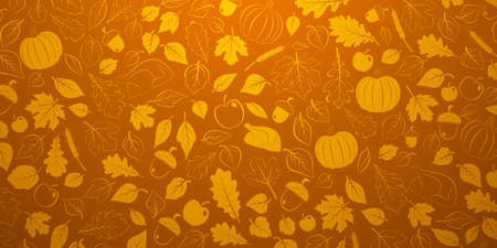 Happy Thanksgiving background with autumn leaves, vegetables and turkey in orange colors