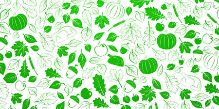 Happy Thanksgiving background with autumn leaves, vegetables and turkey, green on white Ilustração