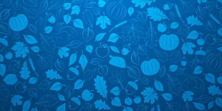 Happy Thanksgiving background with autumn leaves, vegetables and turkey in blue colors
