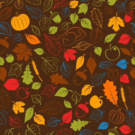 Happy Thanksgiving seamless pattern with autumn leaves, vegetables and turkey, multicolored on brown background
