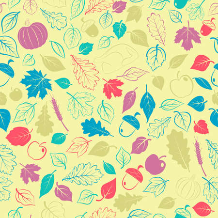 Happy Thanksgiving seamless pattern with autumn leaves, vegetables and turkey, multicolored on yellow background Ilustração