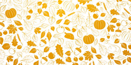 Happy Thanksgiving background with autumn leaves, vegetables and turkey, orange on white