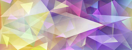 Abstract crystal background with refracting of light and highlights in yellow and purple colors Ilustração