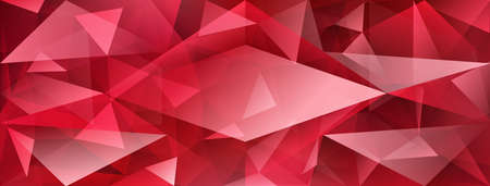 Abstract crystal background with refracting of light and highlights in red colors