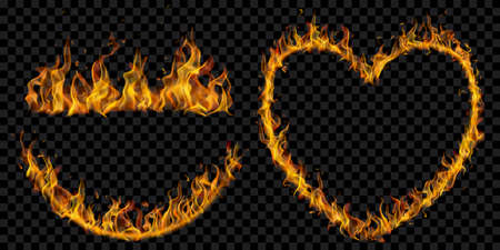 Set of translucent fire flames in the shape of an arc, line and a heart on transparent background. For used on dark illustrations. Transparency only in vector format