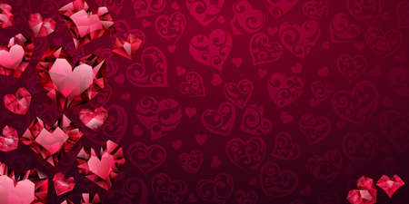 Background of big, small and several crystal hearts in red colors. Illustration on valentine day