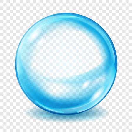 Big translucent light blue sphere with glares and shadows on transparent background. Transparency only in vector format