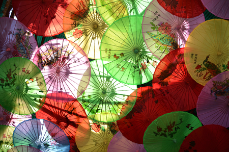 paper umbrella: traditional paper umbrella with painting