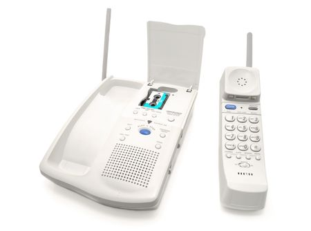 voicemail: Phone with an answering machine Stock Photo
