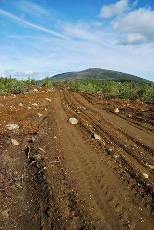 earth road: Strada sporca di terra Archivio Fotografico