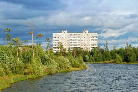 provincial: Summer landscape of a provincial town. Stock Photo