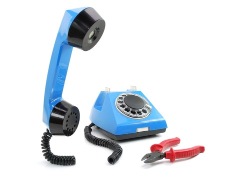 Broken blue phone Stock Photo - 4407638