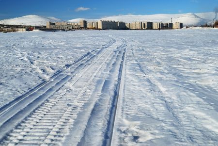 Track of snowmobile photo