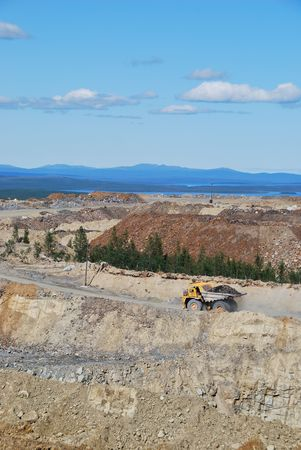 Open-pit Mine with Dump Truck photo