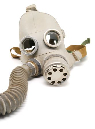 Old Soviet gas mask on a white background. Stock Photo - 5858016