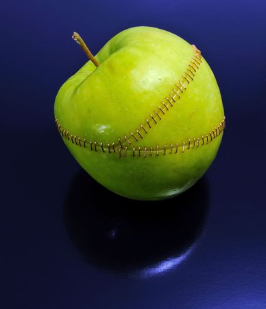 grisly: Three apple  parts  stitched together.