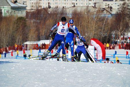 nesterov: MONCHEGORSK, RUSSIA, APRIL 12, 2009: The Championship of Russia ski marathon in Monchegorsk, where men ski a distance of 70 kilometers. #62 - Nesterov Vadim Editorial