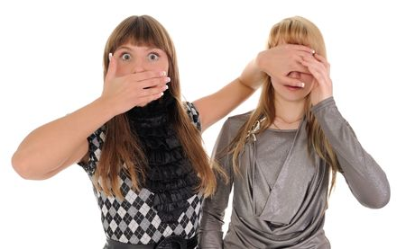 The shocked girl closes eyes to the girlfriend