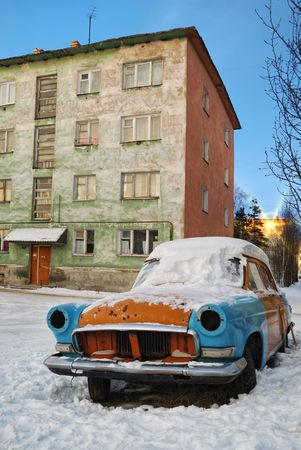 varicoloured: A very old car is done from varicoloured details