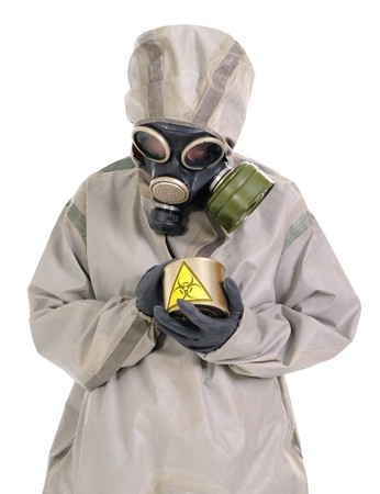 The person  in protective suit with a biohazard canning jar.