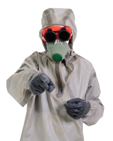 The person in chemical protection suites on a white background. photo