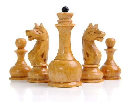 white queen, knights and pawns. photo