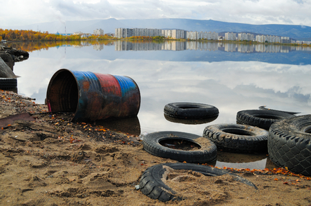 water pollution: Contamination of lake. An environmental problem