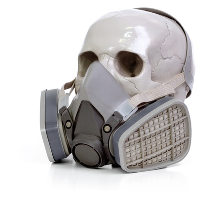 Gas mask and skull a on white background. Stock Photo