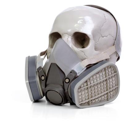 Gas mask and skull a on white background. Reklamní fotografie - 8289583